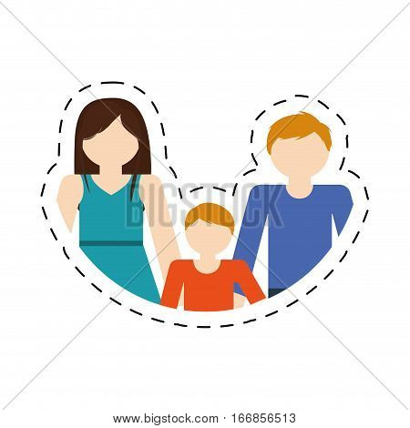 family mom dad and son together members cut line vector illustration eps 10
