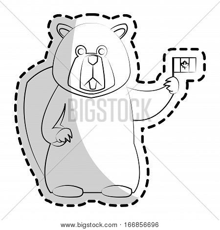 beaver cartoon icon over white background. vector illustration