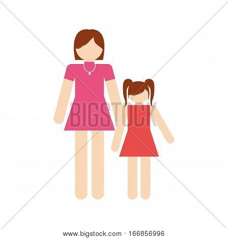 mother and daughter family members vector illustration eps 10