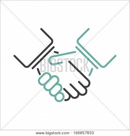 Shaking hands business handshake. Partnership shaking hands success agreement deal greeting. Businessman cooperation shake hand professional team contract vector.