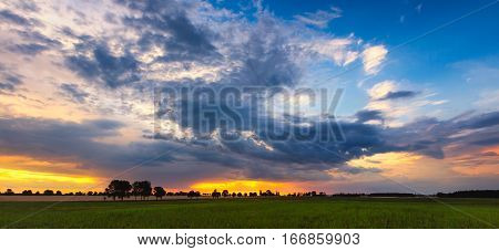 Beautiful Idyllic Sunset Over Spring Meadows