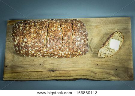Fresh Baked Multi Grain Bread on Cutting Board