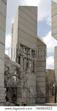 Monument to 1300 Years of Bulgaria regarded as the only monument in the world to depict the history of a whole country from its creation to the present day. Shumen Bulgaria.