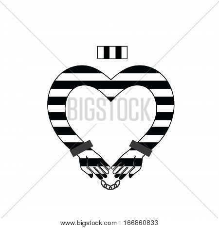 Prisoner icon . Online Dating. Flat isolated vector illustration. Prisoner in striped uniform