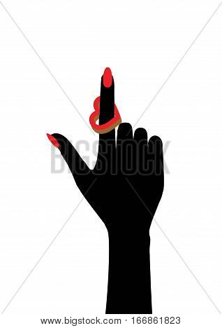 Female hand with a ring in the shape of heart on the index finger. Vector illustration of a large range of applications