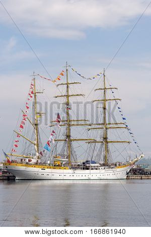 VARNA, BULGARIA - APRIL 30, 2014: Varna is a host of the international maritime event - the SCF Black Sea Tall Ships Regatta. The Romanian tall ship
