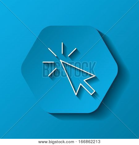 hexagon button with mouse cursor icon over blue background. colorful design. vector illustration