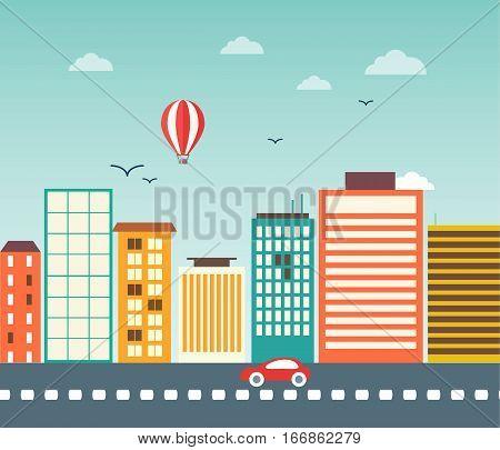City landscape flat street urban design house illustration vector stock