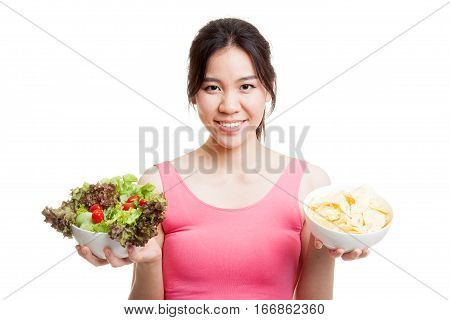 Beautiful Asian Healthy Girl Salad And Potato Chips.