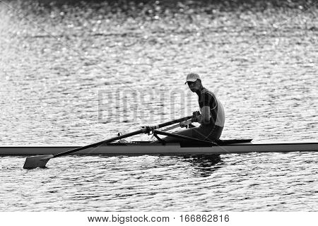 Sportsman Resting After Rowing Single Scull Race