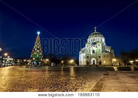 Kronstadt .Russia. January 6 2017. View of the Kronstadt Naval Cathedral in the Christmas winter evening . Saint-Petersburg.