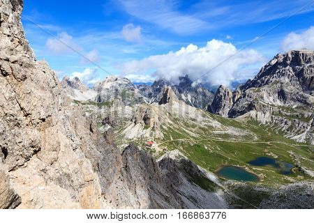 Sexten Dolomites Panorama With Mountain Toblinger Knoten And Alpine Hut Dreizinnenhutte In South Tyr