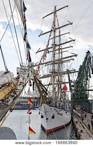 VARNA, BULGARIA - APRIL 30, 2014: Varna is a host of the prestigious international maritime event for a second time - the SCF Black Sea Tall Ships Regatta. Crew of the Russian ship
