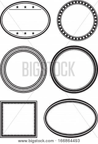 Set Of 6 Solid Black Templates For Rubber Stamps