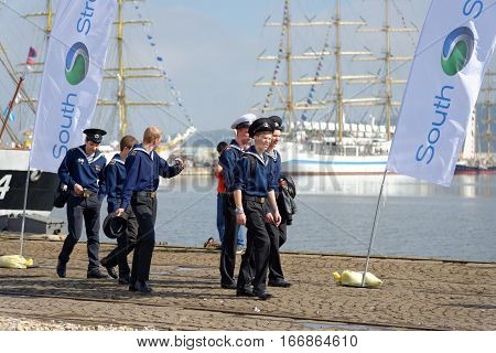 VARNA, BULGARIA - APRIL 30, 2014: Varna is a host of the prestigious international maritime event for a second time - the SCF Black Sea Tall Ships Regatta.
