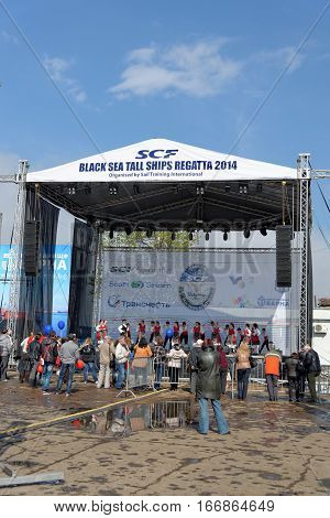 VARNA, BULGARIA - APRIL 30, 2014: Varna is a host of the prestigious international maritime event for a second time - the SCF Black Sea Tall Ships Regatta. The cultural program.
