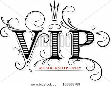 Rich decorated VIP membership only card with crown in black and red gamma.