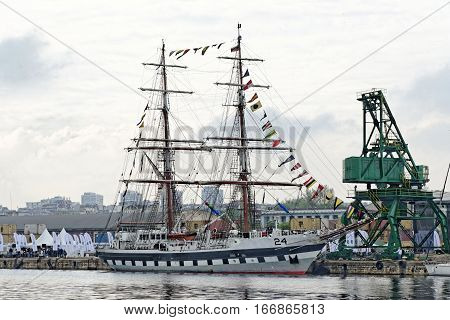 VARNA, BULGARIA - APRIL 30, 2014: Varna is a host of the prestigious international maritime event for a second time - the SCF Black Sea Tall Ships Regatta. The Pakistan