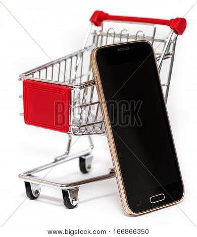 Shopping Cart And Smart Phone Isolated