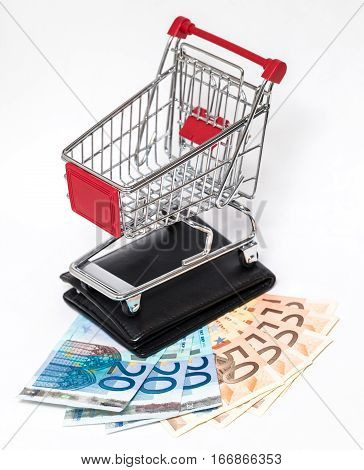 Shopping Cart And Wallet Isolated