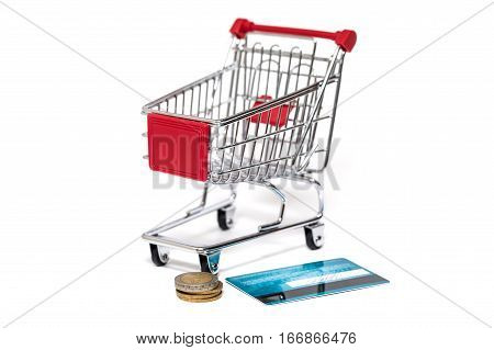 Shopping Cart And Credit Card Isolated