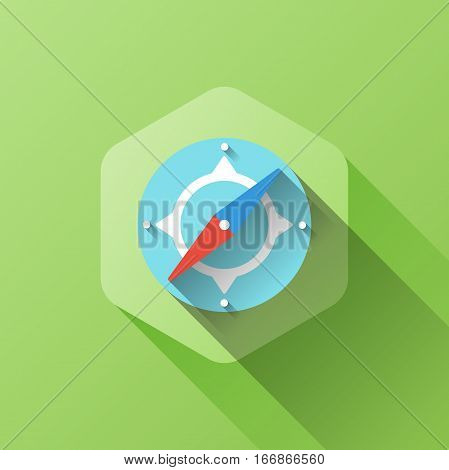 simple illustration of compass icon in flat style with soft long shadow. vector compass symbol design. can be used for web design, web site, app mobile or widget.
