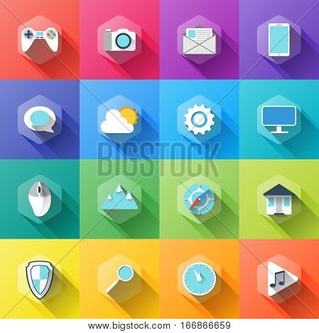 simple illustration of different icons in flat style with soft long shadow. vector set of symbols design. can be used for web design, web site, app mobile or widget. nice collection of modern icon