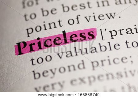 Fake Dictionary Dictionary definition of the word Priceless.