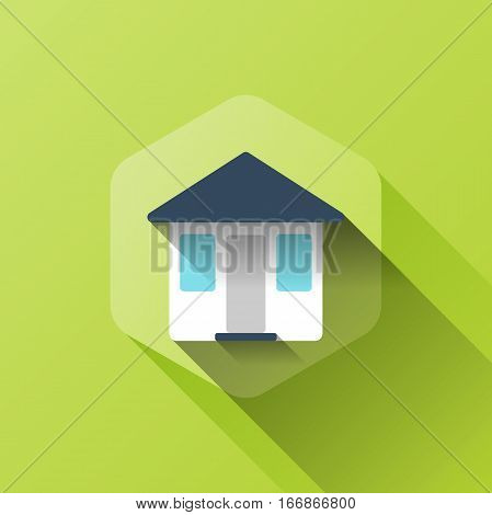 simple illustration of house icon in flat style with soft long shadow. vector home symbol design. can be used for web design, web site, app mobile or widget.