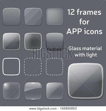 vector set of empty glass frames for app icons. template of square app icon made in transparent glass material design style. empty blank of icon frame