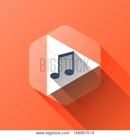 simple illustration of music icon in flat style with soft long shadow. vector music symbol design. can be used for web design, web site, app mobile or widget.