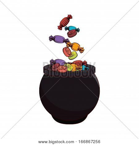 Witch cauldron celebration card vector illustration design