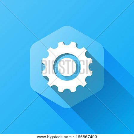 simple illustration of settings icon in flat style with soft long shadow. vector setting symbol design. can be used for web design, web site, app mobile or widget.