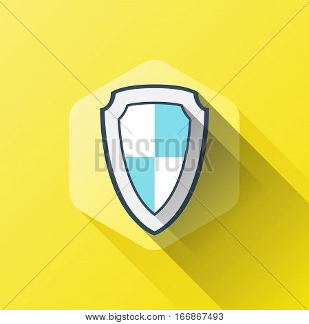 simple illustration of shield icon in flat style with soft long shadow. vector security symbol design. can be used for web design, web site, app mobile or widget.