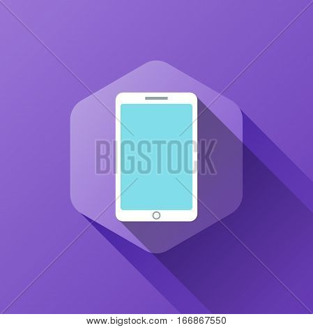 simple illustration of smartphone icon in flat style with soft long shadow. vector smartphone symbol design. can be used for web design, web site, app mobile or widget.