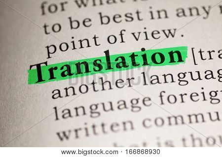 Fake Dictionary Dictionary definition of the word Translation.
