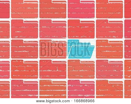 Business concept: rows of Painted red folder icons around blue folder icon on White Brick wall background