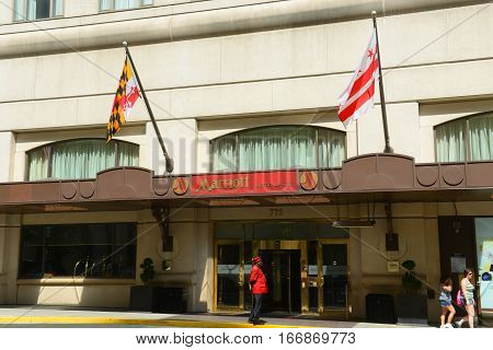 WASHINGTON DC - JUN 23, 2014: Marriott Metro Center Hotel in downtown Washington, District of Columbia, USA.