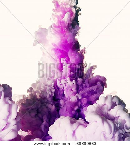 Splash of purple paint. Abstract background. Ink in water