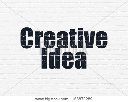 Business concept: Painted black text Creative Idea on White Brick wall background