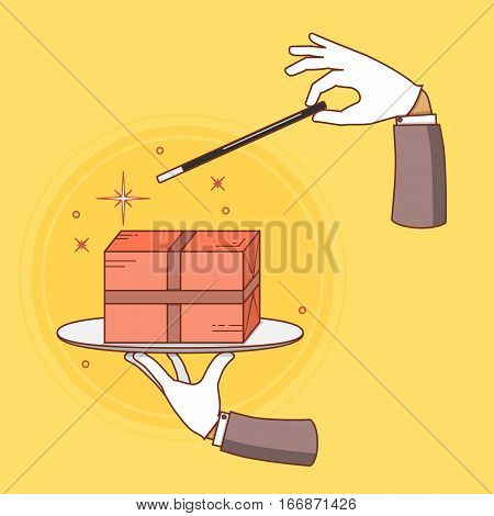 Fast delivery vector conceptual illustration. Hand of magician made parcel by magic wand.