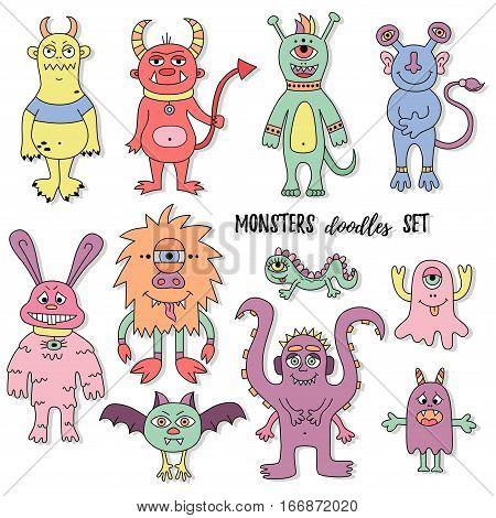 Cute monster mutant colorful childish doodle vector set