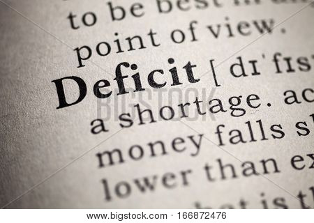 Fake Dictionary Dictionary definition of the word deficit.