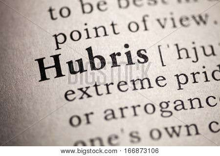 Fake Dictionary Dictionary definition of the word hubris.