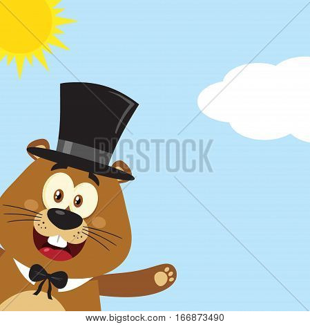 Happy Marmot Cartoon Mascot Character With Cylinder Hat Waving From Corner. Illustration Flat Design With Background