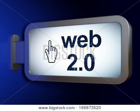 Web design concept: Web 2.0 and Mouse Cursor on advertising billboard background, 3D rendering