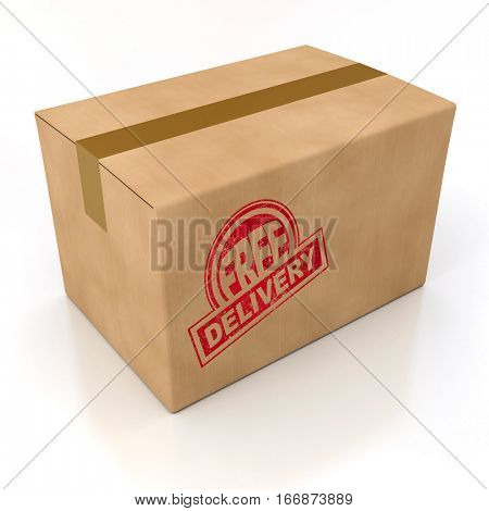 3D rendering Free delivery stamped on  a cardboard box, rendering