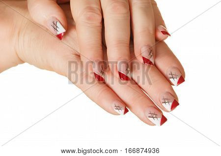 woman's hands with a manicure on a white background