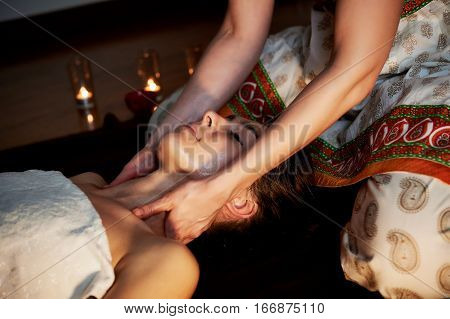 Oil relaxing head massage. Relaxation and therapy
