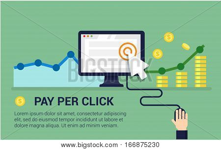 Pay Per Click flat style vector banner. Internet advertising, online marketing concept. Modern illustration for web design, marketing and print material.